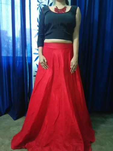 fa705d02ce Solid Red Skirt And Black One Side Sleeve Crop Top